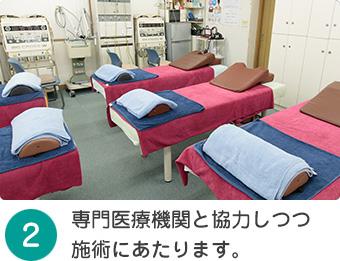 専門医療機関と協力しつつ施術にあたります。